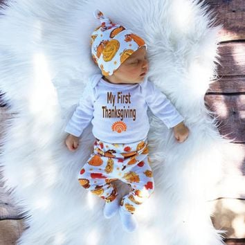 3PCS Baby Girls Boys Clothing set Baby Rompers My First Thanksgiving Party Jumpsuit Pants Hat Set Cotton Baby Boys Girls Outfits