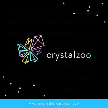 OOAK Premade Logo Design - Neon Diamonds - Perfect for a modern jewelry designer or a crystals shop