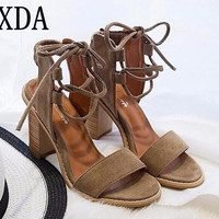 XDA 2017 Sexy Women Pumps Open Toe Lace up Heels Sandals Woman sandals Thick with Women Shoes women High heels X357
