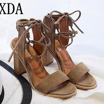 XDA 2017 Sexy Pumps Open Toe Lace up Heels Sandals Woman