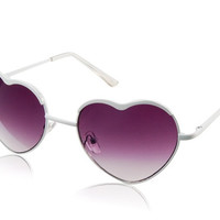 Kadishu 3031 Heart Shaped Fashionable Sunglasses with Plastic Frame & Lens (White)