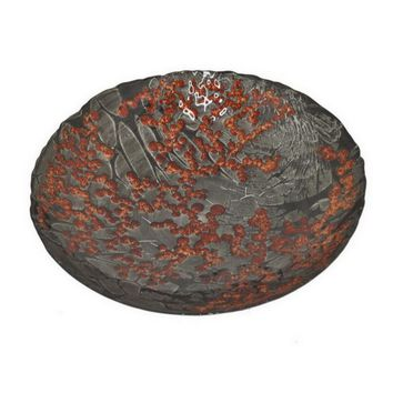 """Benzara 13"""" Grey and Red Glass Bowl"""