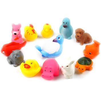 1Pc High quality Safe Soft Rubber Float Sqeeze Sound Baby Wash Bath Play Animals Toys Game