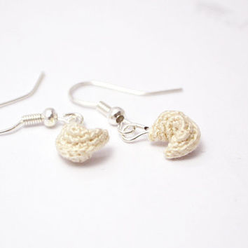 fortune cookie earrings with miniature crochet fortune cookies