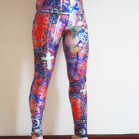 Cross Pink Printed Leggings,Plus size Printed Tights,Colorful yoga pants/Color Bottoms/Sports pants/Women yoga pants K018