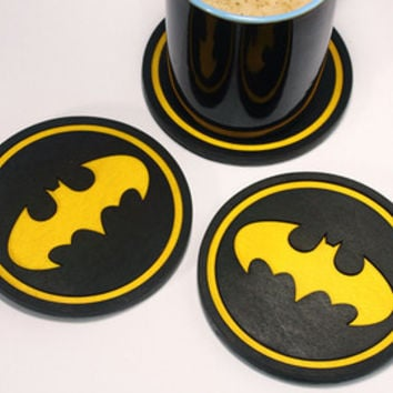 Custom Wood Coasters, Batman, Dark Knight, Gotham, home decor, gift for him, kitchen accessories, Batman gifts, superhero - 1pcs
