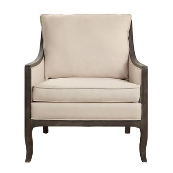 Wooden Accent Chair With Reversible Cushion Seat In Beige and Brown