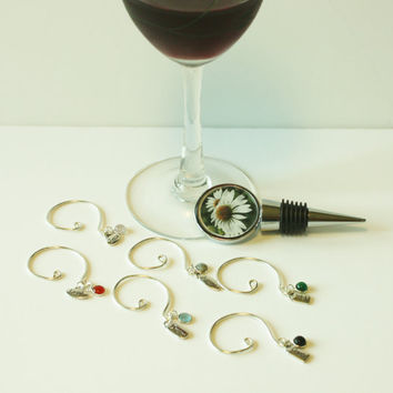Wine Bottle Stopper, Wine Glass Charms, Unique Gift, Flower Photograph, Fun, Ladies Night, Summer Get-togethers, Coasters, Note Cards