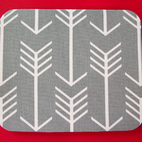 Computer Mouse Pad mousepad / Mat - Round or rectangle - gray white arrows - cubicle decor office desk gift