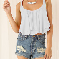 White Layered Cropped Vest