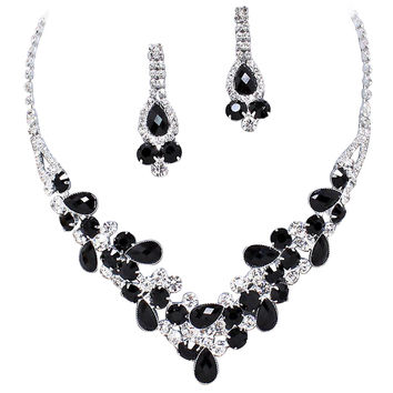 Elegant Black V-Shaped Garland Prom Bridesmaid Evening Necklace Set K1