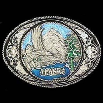 Sports Jewelry & AccessoriesSports Accessories - Alaska with Western Scroll Enameled Belt Buckle