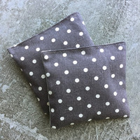 Organic Lavender Sachet Set in Steel Grey Linen Polka Dots Set of 2 Japanese Linen
