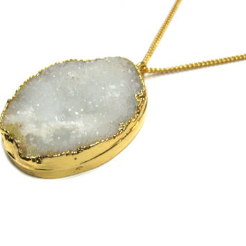 White Druzy Gemstone Gold Dipped Pendant 18inches thin chain boho chic Necklace druse bohemian jewelry wedding christmas gift for her druzzy