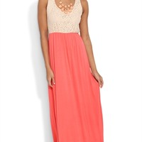 Maxi Dress with Taupe Lace Racerback Tank