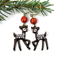 Christmas Deer Holiday Earrings