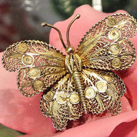 Antique Brooch 1920s 1930s Cannetille Filigree Butterfly Brooch French 800 Silver Lace Metal Scroll Work  Art Nouveau Art Deco Gold Wash