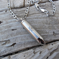 Bullet necklace in stainless steel on a stainless steel chain