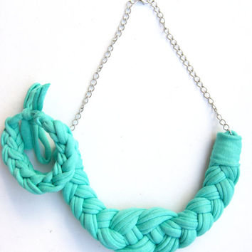 Mint Green necklace. Nautical Knot Necklace. Cotton Jersey necklace. Knotted Necklace, Braided Necklace, Cotton Choker, Green Necklace