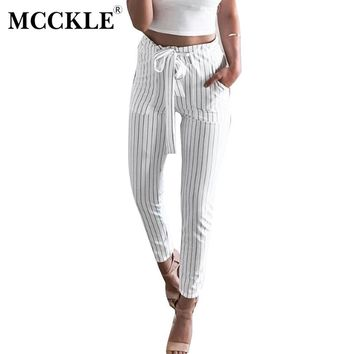 MCCKLE 2017 Women OL Chiffon High Waist Harem Pants Bow Tie Drawstring Sweet Elastic Waist Pockets Casual Trousers Pantalones
