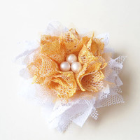 Flower Hair Clips, Yellow and Off White Fabric Flowers, Lace Flowers, Fashion Hair Accessories Floral for Teen Girls and Women