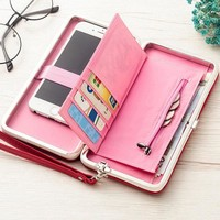 Stylish 5.5inch Grid Phone Bag Wallet Card Holder Clutch Bags