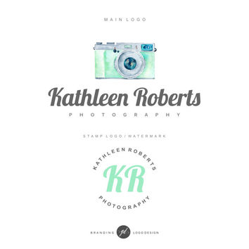 Photography logo Camera logo, Premade Branding Kit, Logo design, Watermark, Stamp, Branding kit, Watercolor logo, Photography logo design 19