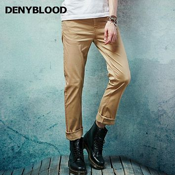 Denyblood Jeans Mens Slim Straight Classic Casual Pants 2017 New Fashion Stretch Cotton Chino Pants Navy Khaki Trousers 151101