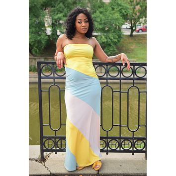 My Everyday Strapless Colorblock Maxi Dress