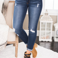 Rise & Shine Distressed KanCan Skinny Jean (Dark Wash)