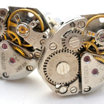 Steampunk Swiss Watch Cufflinks Vintage Citizen Watches Men's