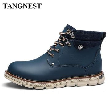 Tangnest Man's Solid Patchwork Button Ankle Boots Men Genuine Leather Shoes Men New 2017 Autumn Working Safety Boots XMX713