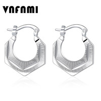 New Trendy Silver Large Size Hoop Earring for Women Fine Jewelry Silver Plated Smooth Hoop Earring Women Wedding Jewelry Brincos