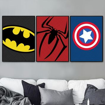 Superhero Batman Spider Man Captain America Nordic Poster And Print Wall Art Canvas Painting Wall Pictures For Living Room Decor