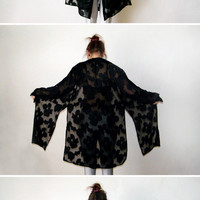 90s Black Long Duster - Vintage Floral Goth Grunge Sheer Tunic Blouse Gypsy Kimono Long Sleeve Button Up Shirt Witch Vamp Hippie Boho