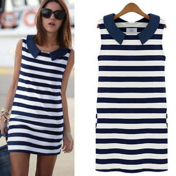 Navy Stripe Sleeveless Dress