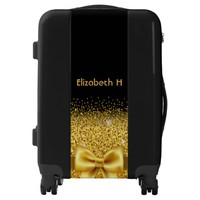Elegant faux gold bow with sparkle glitter black luggage