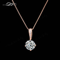 Double Fair Brand OL Style Chain Necklaces & Pendants Rose Gold Plated Fashion CZ Diamond Wedding Jewelry For Women Gift DFN426