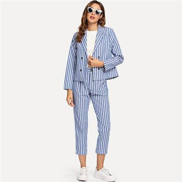 Double Button Notched Collar Blazer With Pants Set Women Elegant Striped Print Blazer Workwear 2 Piece Set