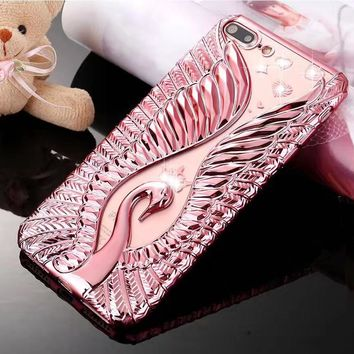 Luxury Angel Bling Silicone  Case For iPhone 6 6S Plus 7 7Plus
