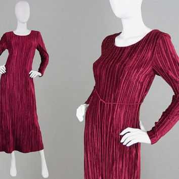 Vintage 90s MAX MARA Fortuny Pleat Dress Pleated Velvet Dress Sexy Cut Out Wiggle Dress Open Back Mushroom Pleat Evening Dress Cocktail Gown
