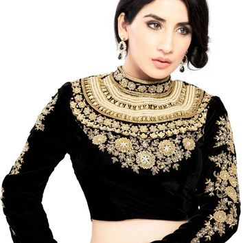 Maharana Full Sleeve Black Velvet Saree Blouse Sari Choli Crop Top - KP-72