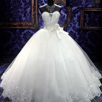 Noble Ball Gown Floor-length Sweetheart Lace-up Bowknot Appliques Wedding Dress