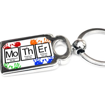 Mother Periodic Table of Elements Metal Key Chain - Perfect Gift for Mom