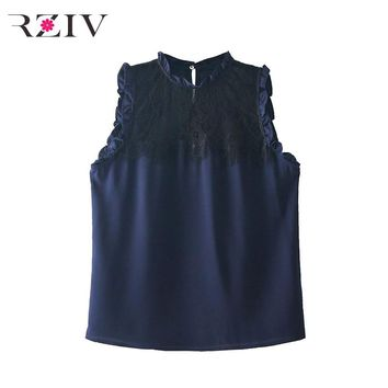 RZIV 2018 summer women's vest casual solid color lotus leaf lace trim vest