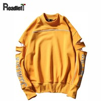 2017 Mens Fashion Broken Hole Style Hip Hop Sporting Hoodies Men Brand Clothing Cotton Crewneck Streetwear Sweatshirts Tracksuit