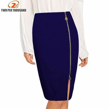 S-4Xl Plus Size Multi Color Black Zipper Midi Pencil Skirt Women High Waist Office Lady Bodycon Skirts Saias