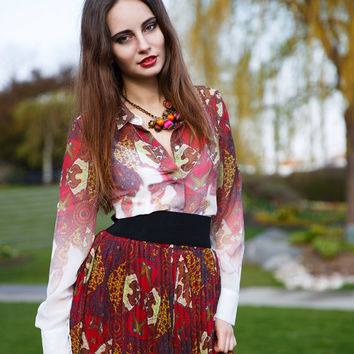 African print Kezi shirt, long sleeve chiffon shirt.  Free shipping worldwide