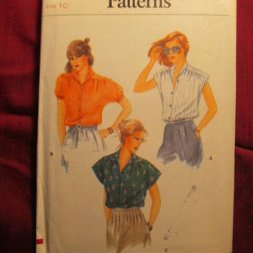 SALE Uncut 1980's Vogue Sewing Pattern, 7321! Size 10 Small/Medium/Women's/Misses/Extended Shoulder Blouses/Short Sleeve Tops/Button Up Fron