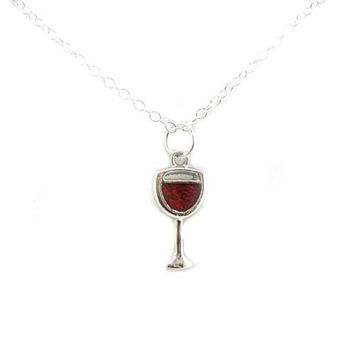 Wine Glass Necklace, Wine Glass Pendant, Charm Jewelry, Silver Red Wine Glass Necklace, Wine Glass Charm, Jewelry Gift, Gift Under 20